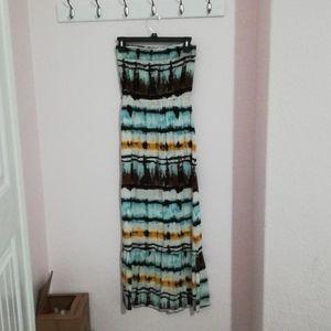 Multicolored Strapless Maxi Dress